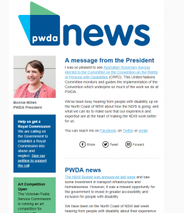 A screenshot of the June 2018 edition of PWDA news