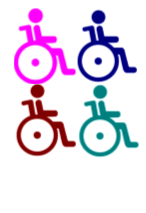 Four wheelchair icons in different colours