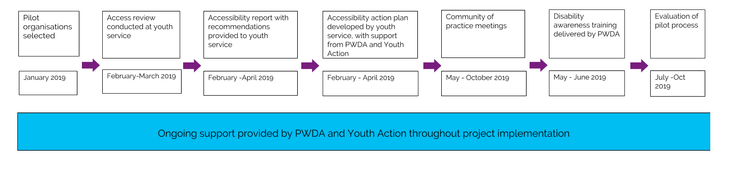 Pilot organisations selected, January 2019. Access review conducted at youth service, February-March 2019. Accessibility report with recommendations provided to youth service, February -April 2019. Accessibility action plan developed by youth service, with support from PWDA and Youth Action, February - April 2019. Community of practice meetings, May - October 2019. Disability awareness training delivered by PWDA, May - June 2019. Evaluation of pilot process, July -Oct 2019.