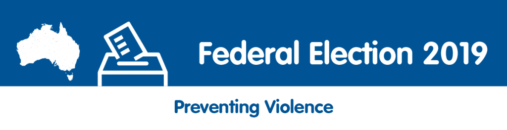 A graphic of Australia and a ballot box icon. Text: Federal Election 2019. Preventing violence. PWDA logo