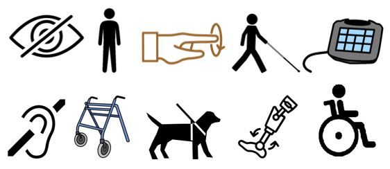 Ten different icons representing different impairments such as low vision, hearing loop icon and a walking frame