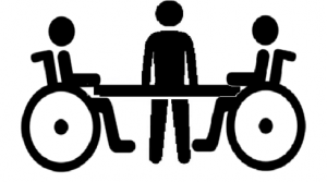 icon of three people at a meeting table, two of them in wheelchairs.