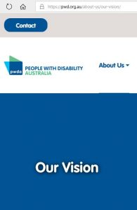 screenshot of the Our Vision page on pwd.org.au