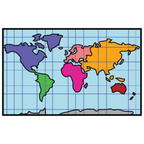 A small cartoon map of the world.